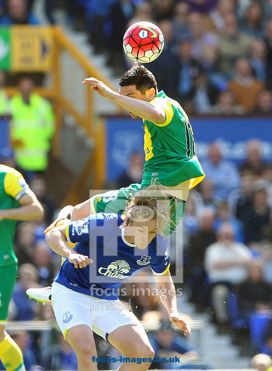 Graham Dorrans of Norwich and Tom Davies of Everton in action during the Barclays Premier League match at Goodison Park, Liverpool<br /> Picture by Paul Chesterton/Focus Images Ltd +44 7904 640267<br /> 15/05/2016