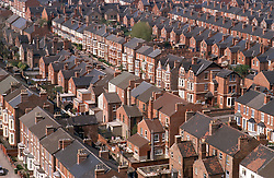 Aerial view of Victorian terrace houses,