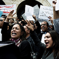 Lawyers protesting in front of the court of Justice in Tunis.