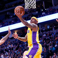 09 March 2018: Los Angeles Lakers guard Isaiah Thomas (3) goes for the layup during the Denver Nuggets125-116 victory over the Los Angeles Lakers, at the Pepsi Center, Denver, Colorado, USA.