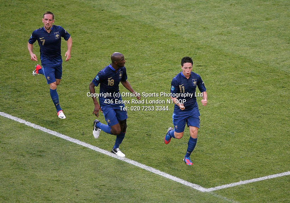 11/06/2012 European football championships. France v England.<br /> Samir Nasri celebrates his goal for France.<br /> Photo: Mark Leech.