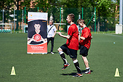 Warsaw, Poland - 2017 May 18: Training session of Special Olympics football team after press conference while the annual Special Olympics European Football Week at Legia Warsaw on May 18, 2017 in Warsaw, Poland.<br /> <br /> Adam Nurkiewicz declares that he has no rights to the image of people at the photographs of his authorship.<br /> <br /> Picture also available in RAW (NEF) or TIFF format on special request.<br /> <br /> Any editorial, commercial or promotional use requires written permission from the author of image.<br /> <br /> Image can be used in the press when the method of use and the signature does not hurt people on the picture.<br /> <br /> Mandatory credit:<br /> Photo by &copy; Adam Nurkiewicz / Mediasport