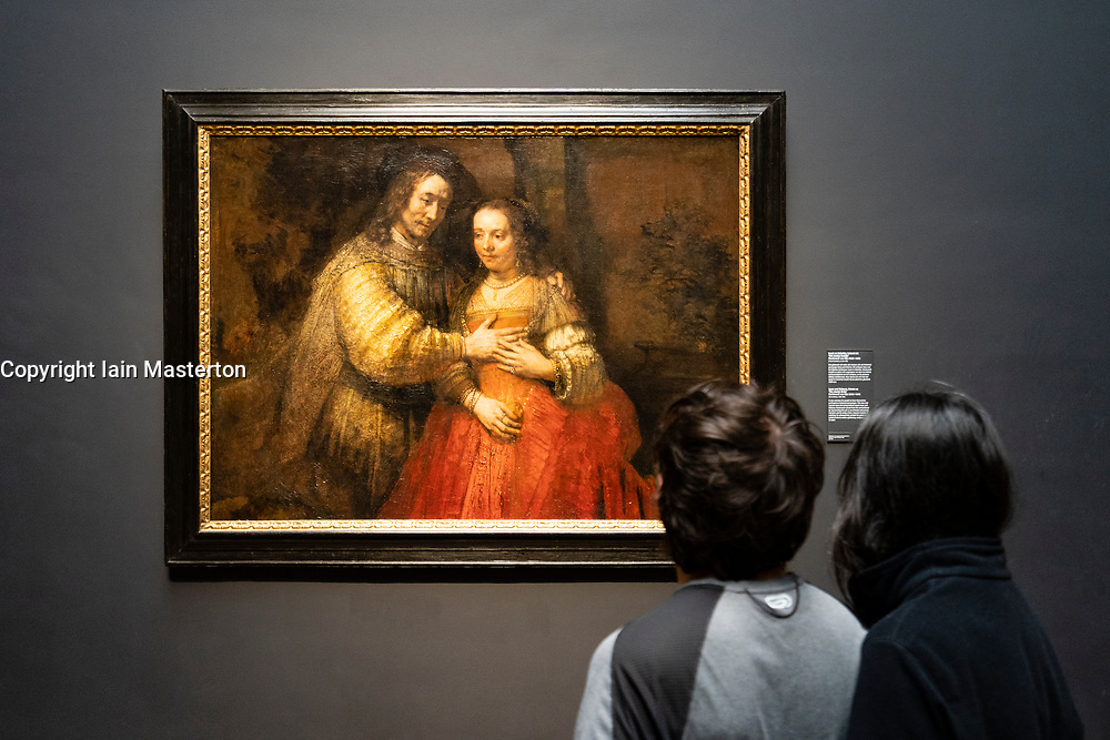"""Painting Isaac and Rebecca known as the """"Jewish Bride"""" by Rembrandt van Rijn"""