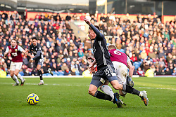 Harvey Barnes of Leicester City is fouled by Ben Mee of Burnley and awarded a penalty - Mandatory by-line: Robbie Stephenson/JMP - 19/01/2020 - FOOTBALL - Turf Moor - Burnley, England - Burnley v Leicester City - Premier League