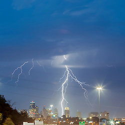A thunderstorm above downtown Kansas City, Missouri yielding lighting strikes, June 25, 2016.