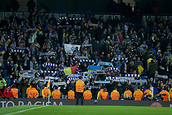 MANCHESTER, ENGLAND - Tuesday, March 15, 2016: FC Dynamo Kyiv supporters during the UEFA Champions League Round of 16 2nd Leg match against Manchester City at the City of Manchester Stadium. (Pic by David Rawcliffe/Propaganda)