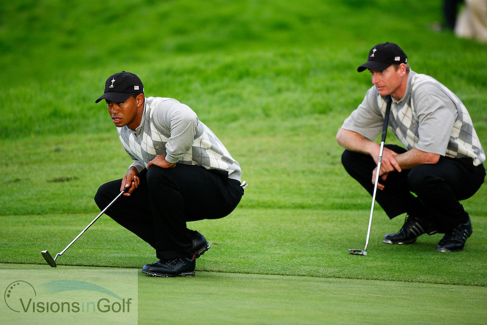 Tiger Woods and Jim Furyk on the first afternoon at the 36th Ryder Cup Matches 2006, K Club, Ireland, 060922<br /> Picture Credit: Mark Newcombe / visionsingolf.com