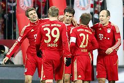 03.12.2011, Allianz Arena, Muenchen, GER, 1.FBL,  FC Bayern Muenchen vs. Werder Bremen, im Bild Jubel nach dem Tor zum 3-1 durch Mario Gomez (Bayern #33) mit Franck Ribery (Bayern #7) und Thomas Mueller (Bayern #25) Arjen Robben (Bayern #10) Philipp Lahm (Bayern #21) Toni Kroos (Bayern #39)  // during the match FC Bayern Muenchen vs Werder Bremen, on 2011/12/03, Allianz Arena, Munich, Germany, Foto © nph / Straubmeier