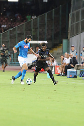 August 16, 2017 - Naples, Italy - Action during soccer match between SSC Napoli  and  OGC Nice    at San Paolo  Stadium in Napoli .final result Napoli vs. OGC Nice 2-0.In picture   order photos from R to L: Raúl Albiol (SSC Napoli) and Allan Saint-Maximin  (Credit Image: © Salvatore Esposito/Pacific Press via ZUMA Wire)
