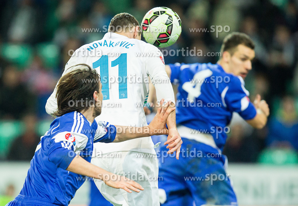 Milivoje Novakovic of Slovenia scores third goal for Slovenia during football match between NationalTeams of Slovenia and San Marino in Round 5 of EURO 2016 Qualifications, on March 27, 2015 in SRC Stozice, Ljubljana, Slovenia. Photo by Vid Ponikvar / Sportida