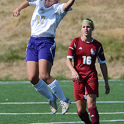 Photos by Tom Kelly IV<br /> WCU's Lexi Brown (27) goes up for a header in front of IUP's Michelle Grozinsky (16) during the Indiana University of Pennsylvania (IUP) vs West Chester University (WCU) women's soccer game in East Bradford Township, Wednesday afternoon October 2, 2013.