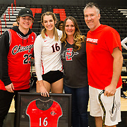 18 November 2017:  The San Diego State women's volleyball team closes out it's season against #24 Colorado State University. San Diego State middle blocker Baylee Little (16) seen her with her family celebrating her last game as an Aztec. The Aztecs fell to the Rams in three sets. <br /> www.sdsuaztecphotos.com