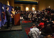 McAllen, TX - 13 Feb 2008 -.Senator Hillary Clinton, D-New York, speaks at a press conference after her campaign rally on Wednesday morning at the McAllen Convention Center.