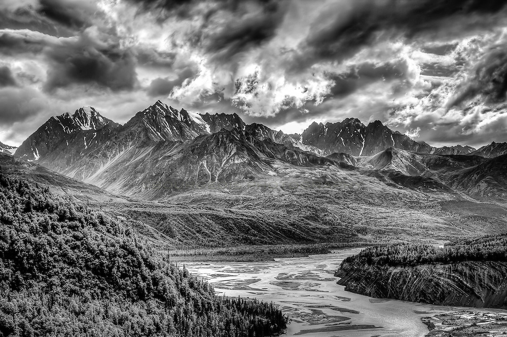 Black and white photo of a mountain range in Alaska.