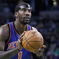 04 March 2012: New York Knicks power forward Amare Stoudemire (1) is seen at the free throw line during the Boston Celtics 115-111 (OT) victory over the New York Knicks at the TD Garden, Boston, Massachusetts, USA.