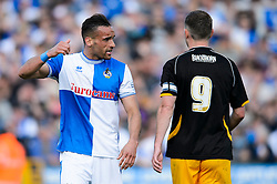 Kaid Mohamed (WAL) of Bristol Rovers gestures to John Dempster (SCO) of Mansfield Town - Photo mandatory by-line: Rogan Thomson/JMP - 07966 386802 - 03/05/2014 - SPORT - FOOTBALL - Memorial Stadium, Bristol - Bristol Rovers v Mansfield Town - Sky Bet League Two. (Note: Mansfield are wearing a Rovers spare kit having forgotten their own).