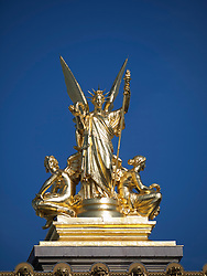 Gold statue on L'Opera in Paris France