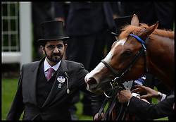 Sheikh Mohammad Bin Rashid Al Maktoum wins St James Palace Stakes Trophy in the Parade ring on the Opening day of Royal Ascot 2013 Ascot, United Kingdom<br /> Tuesday, 18th June 2013,<br /> Picture by Andrew Parsons / i-Images