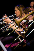 Members in the horn section of the Lab Band in Rowan University's 2010 autumn presentation of the Lab & Jazz Bands.