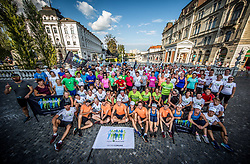 Runners at Adidas Bridge Run across river Ljubljanica, on September 8, 2018 in Tromostovje, Ljubljana, Slovenia. Photo by Vid Ponikvar / Sportida