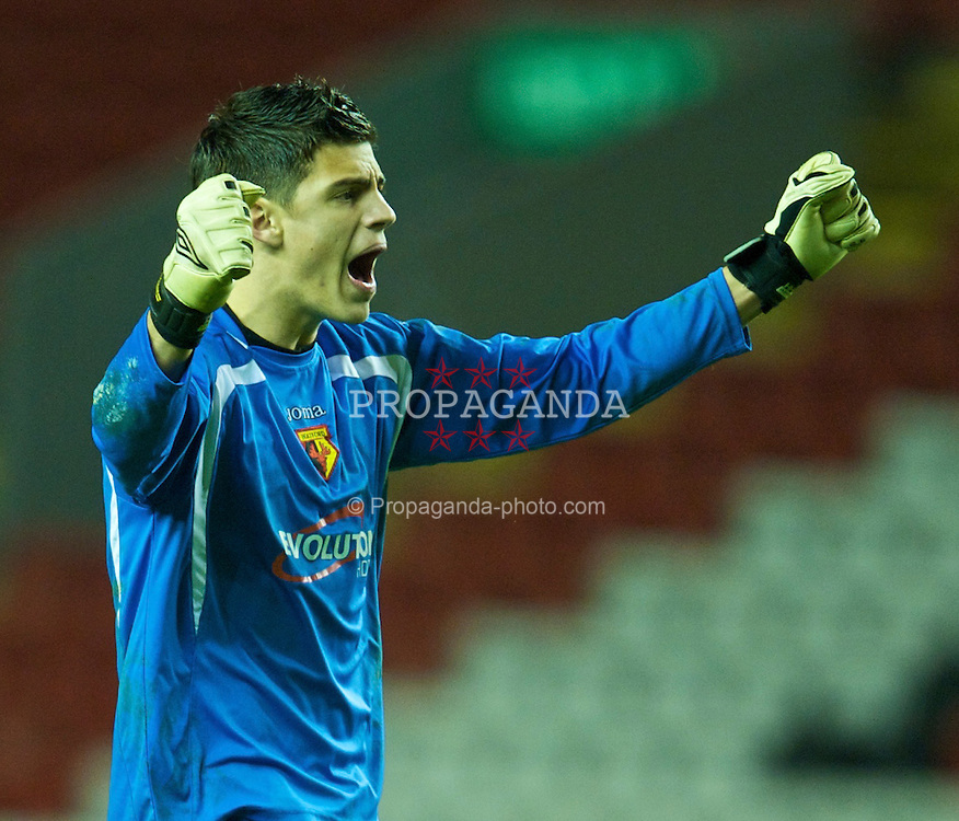 LIVERPOOL, ENGLAND - Monday, February 8, 2010: Watford's goalkeeper Jonathan Bond celebrates after his side's 1-0 victory over Liverpool during the FA Youth Cup 5th Round match at Anfield. (Pic by David Rawcliffe/Propaganda)