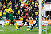 Dominic Solanke (9) of AFC Bournemouth shot at goal but is saves by Tim Krul (1) of Norwich City during the Premier League match between Bournemouth and Norwich City at the Vitality Stadium, Bournemouth, England on 19 October 2019.