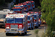 May 15, 2014 - Escondido, California, U.S -<br /> <br /> California Wildfires 2014 - Cocos Fire<br /> <br />  Fire engines at the Cocos fire in San Marcos are staged for  structure protection on La Moree Road Thursday<br /> ©Exclusivepix