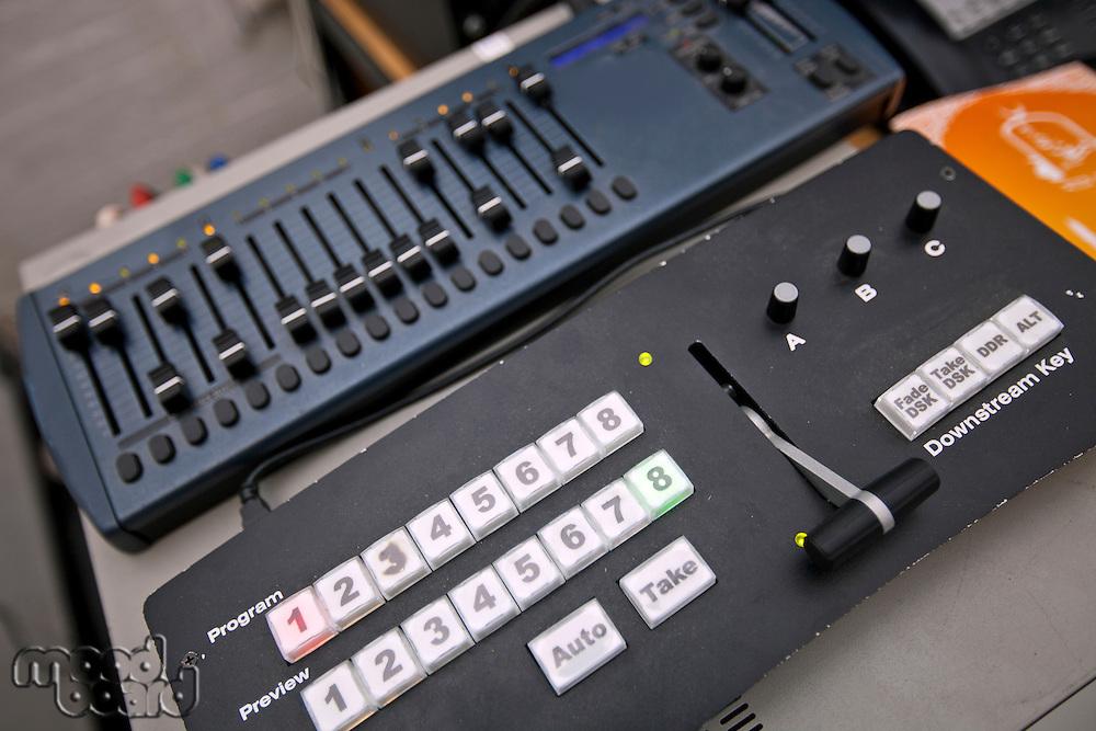Close-up of sound recording equipment in television studio