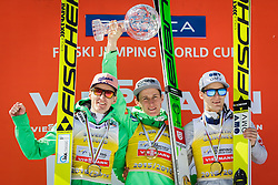 Overall World Cup winners Severin Freund (GER), Peter Prevc (SLO) and Kenneth Gangnes (NOR) celebrates  after the Ski Flying Hill Team Competition at Day 4 of FIS Ski Jumping World Cup Final 2016, on March 20, 2016 in Planica, Slovenia. Photo by Ziga Zupan / Sportida