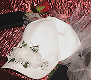 A ball cap for the bride at the themed wedding of Tonya Landess and Mike Oberer, in the Gothic Cloister of the Dayton Art Institute, Saturday, October 13, 2007.