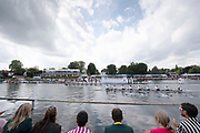 Henley on Thames, England, United Kingdom, 7th July 2019, Kings' Cup Final, passing the progress board,  United States Armed Forces, U.S.A. pull half a length, lead over the Bundeswehr, Germany, with the Henley Royal Regatta, Finals Day, Henley Reach, [© Peter SPURRIER/Intersport Image]<br /> 15:07:25 1919 - 2019, Royal Henley Peace Regatta Centenary,