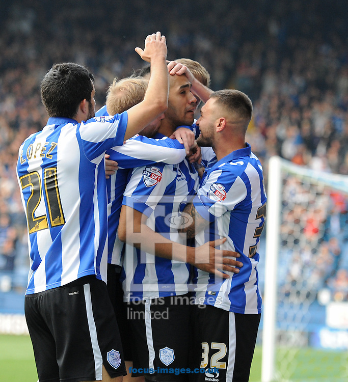 Lewis McGugan (C) of Sheffield Wednesday celebrates scoring to make it 3-1 during the Sky Bet Championship match at Hillsborough, Sheffield<br /> Picture by Richard Land/Focus Images Ltd +44 7713 507003<br /> 03/10/2015
