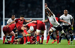 Ben Youngs of England box-kicks the ball clear - Mandatory byline: Patrick Khachfe/JMP - 07966 386802 - 18/09/2015 - RUGBY UNION - Twickenham Stadium - London, England - England v Fiji - Rugby World Cup 2015 Pool A.