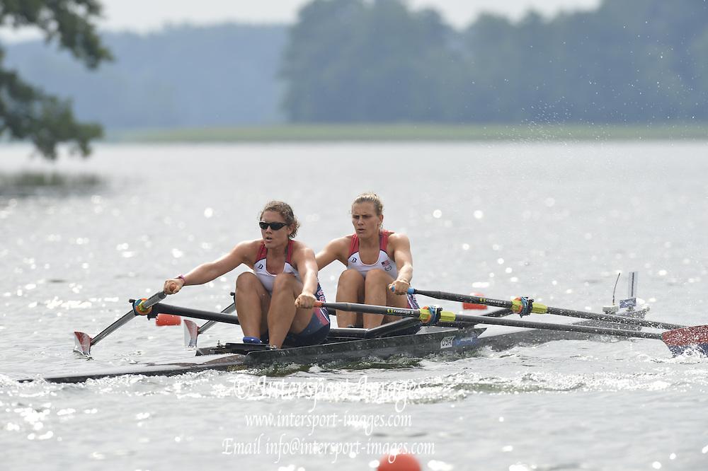 Trackai. LITHUANIA.  USA W2X, Bow, Cara LINNENKOHL and Carli GOLDBERG,  2012 FISA U23 Rowing Championships, Lake Galve.   10:40:08 Thursday 12/07/2012 [Mandatory credit: Peter Spurrier/Intersport Images]..Rowing, U23, 2012.