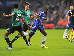 Chelsea's Ramires is fouled by FC Schalke 04 Joel Matip - Photo mandatory by-line: Joe Meredith/JMP - Tel: Mobile: 07966 386802 22/10/2013 - SPORT - FOOTBALL - Veltins-Arena - Gelsenkirchen - FC Schalke 04 v Chelsea - CHAMPIONS LEAGUE - GROUP E