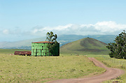 A water tank on Parker Ranch on the Big Island of Hawaii.