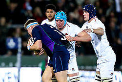 James Scott of England U20 tackles Euan McLaren of Scotland U20 - Mandatory by-line: Robbie Stephenson/JMP - 15/03/2019 - RUGBY - Franklin's Gardens - Northampton, England - England U20 v Scotland U20 - Six Nations U20
