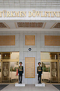 Young soldiers on sentry duty at the Independence Monument in Ashgabat