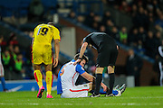 Grant Hanley (captain) (Blackburn Wanderers) down with an injury during the Sky Bet Championship match between Blackburn Rovers and Rotherham United at Ewood Park, Blackburn, England on 11 December 2015. Photo by Mark P Doherty.