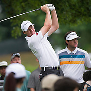 August 22, 2014:  Jimmy Walker (USA) tee's off as  Bubba Watson (USA) looks on during the second round of The Barclays Fed Ex  Championship at Ridgewood Country Club in Paramus, NJ. Mandatory Credit:  Kostas Lymperopoulos/csm  (Credit Image: © Kostas Lymperopoulos/Cal Sport Media)