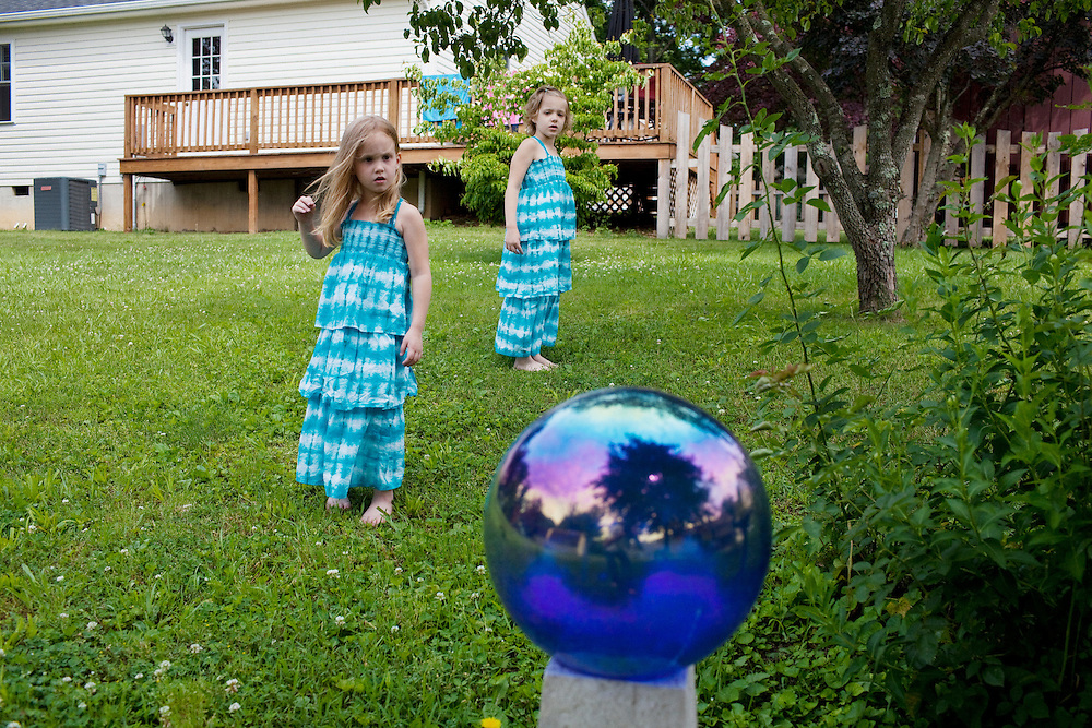 (R-L) Hayley Kudro, 6, and Aubrey, 4, in Waynesboro, Virginia on Wednesday, June 15, 2011. Hayley, then 5, was diagnosed with a softball-sized mass near her liver that turned out to be neuroblastoma in September of 2009.