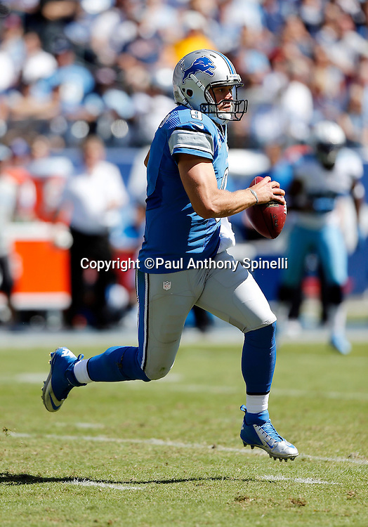 Detroit Lions quarterback Matthew Stafford (9) runs the ball during the NFL week 3 football game against the Tennessee Titans on Sunday, Sept. 23, 2012 in Nashville, Tenn. The Titans won the game in overtime 44-41. ©Paul Anthony Spinelli