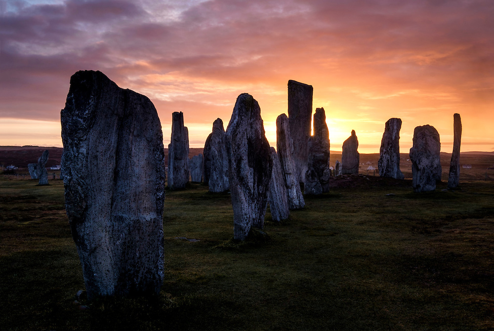 LEWIS AND HARRIS, SCOTLAND - CIRCA APRIL 2016: Sunrise the famous Callanish Stones in Outer Islands of Lewis and Harris in Scotland.
