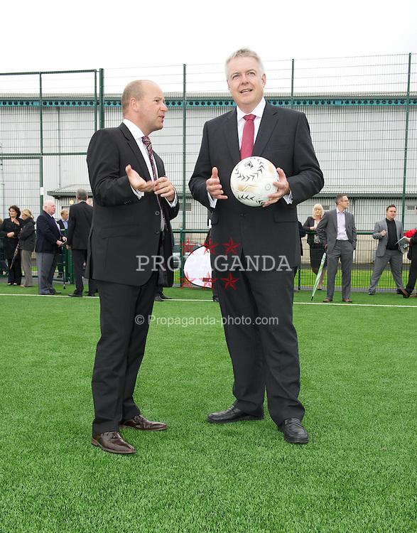 NEWPORT, WALES - Wednesday, July 4, 2012: First Minister Carwyn Jones and FAW Chief-Executive Jonthan Ford as the Football Association of Wales open the first 3G pitch at the National Development Centre at the Newport International Sports Village. (Pic by David Rawcliffe/Propaganda)