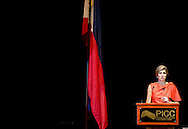 1-7- 2015 MANILLA - Officiële lancering van de Nationale Strategie voor Inclusieve Financiering in het Philippines International Convention Centre. <br /> 	voor Inclusieve Financiering . Queen Maxima during a three-day visit to the Philippines, as a special advocate of the Secretary-General of the United Nations. Queen Máxima visits in her capacity as special advocate of the Secretary-General of the United Nations for inclusive finance for development (inclusive finance for development). manila COPYRIGHT ROBIN UTRECHT