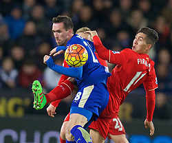 LEICESTER, ENGLAND - Monday, February 1, 2016: Liverpool's Roberto Firmino in action against Leicester City's Christian Fuchs during the Premier League match at Filbert Way. (Pic by David Rawcliffe/Propaganda)