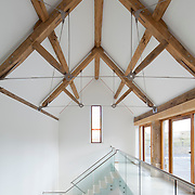 view of landing and staircase, barn conversion, Cotswolds