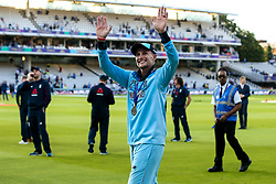 Joe Root of England celebrates winning the ICC Cricket World Cup - Mandatory by-line: Robbie Stephenson/JMP - 14/07/2019 - CRICKET - Lords - London, England - England v New Zealand - ICC Cricket World Cup 2019 - Final