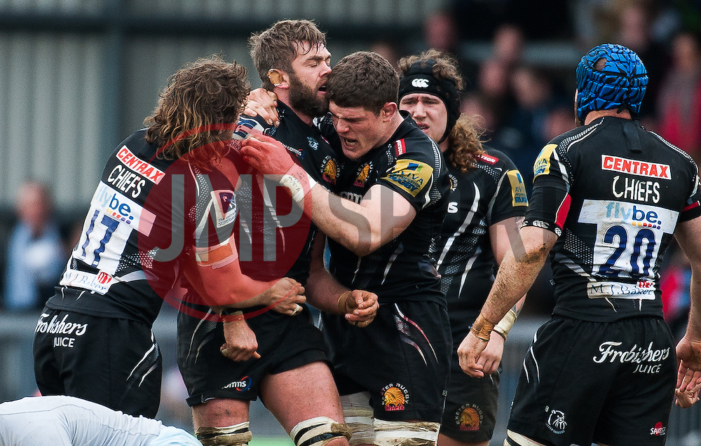 Dave Ewers of Exeter Chiefs celebrates a penalty with Geoff Parling of Exeter Chiefs.  - Mandatory byline: Alex Davidson/JMP - 20/03/2016 - RUGBY - Sandy Park - Exeter, England - Exeter Chiefs v Northampton Saints - Aviva Premiership