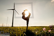 Sportive girl at windpark, outdoor, near Vienna, Austria